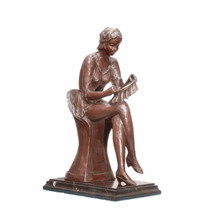 Female Art Figure Bronze Sculpture Mother Sew Home Decor Brass Statue TPE-991