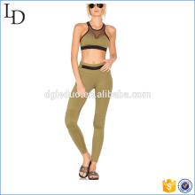 Kontrast Mesh-Panel Fitness Yoga tragen Frauen Yoga Sport tragen Sets