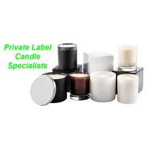 Bougie de soja organique d'étiquette adaptée aux besoins du client dans le support en verre