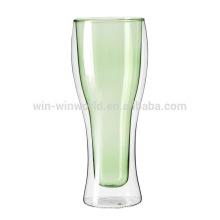 Nuevas copas con aislamiento de cerveza de pared doble de vidrio
