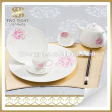 Atacado china asiático rosa vermelha cerâmica jantar dinnerware, conjunto de louça