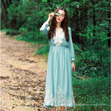 ropa islámica de poliéster de calidad suave dubai mujeres impreso vestido de encaje azul