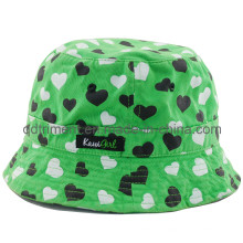 Heart Printing Cotton Twill Fisherman Sport Bucket Hat (TMBT0266)