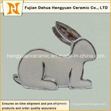Silver Plating Porcelaine Rabbit Shape Candle Holders pour Décoration de Pâques