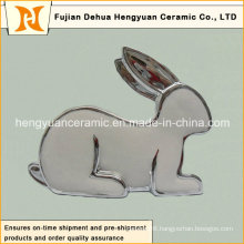 Silver Plating Porcelain Rabbit Shape Candle Holders for Easter Decoration