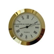 Пользовательские Япония Кварцевые часы вставки позолоченный мини-часы 65мм