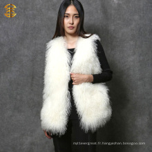 Hot Sale Colorful Real Tibet Agneau Fur Waistcoat Girls Mongolie Fur Gilet