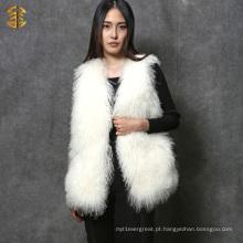 Hot Sale Colorido Camarão de pele de cordeiro genuíno de Tibet Meninas Mongolia Fur Gilet