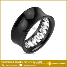 Square Cut Gem Pattern Inlayed Black Acrylic Ear Tunnel Body Piercings