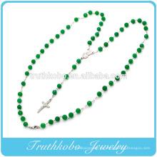 2014 religiöse neueste Design Kunststoff 8mm grüne Perle Kette Halskette mit Edelstahl Mutter Maria und Jesus Kreuz Charme desig