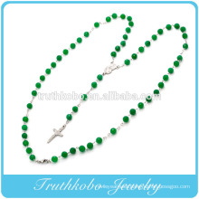 2014 Religious latest design plastic 8mm green bead chain necklace with stainless steel mother Mary and Jesus cross charm desig