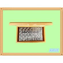 Double domino noir en plastique 6 dans une boîte en bambou