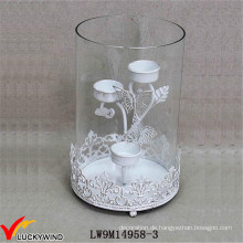 Hurrikan Glas Metall beunruhigt weißen Hochzeit Kerze Halter
