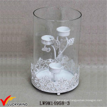Hurricane Glass Metal Distressed White Wedding Candle Holder