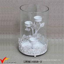 Metal de vidro do furacão afligido Casamento Branco Candle Holder