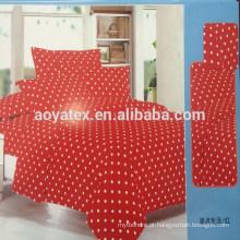 Ponto redondo e fundo vermelho adulto grande tamanho 75gsm 100% poliéster conjuntos de lençol de microfibra