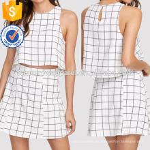 Keyhole Back Grid Crop Top y Zip Up Skirt Set Fabricación Venta al por mayor Moda Mujeres Ropa (TA4014SS)