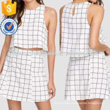Keyhole Back Grid Crop Top And Zip Up Skirt Set Manufacture Wholesale Fashion Women Apparel (TA4014SS)