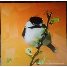 Peinture à l'huile d'oiseau blanc