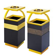 Cubo de basura de acero inoxidable para el vestíbulo con cenicero (yw0072)