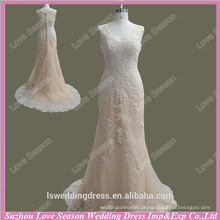 RP0081Nude sheer back sereia tulle laço appliques estilo boêmio mãe da noiva vestido mãe real do vestido da noiva