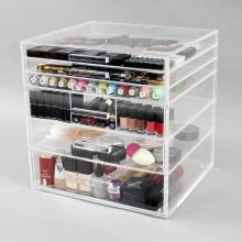 Boîte de rangement cosmétique acrylique transparente pour le maquillage