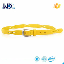 Hot Selling Yellow Full Vegetable Leather Women Belt
