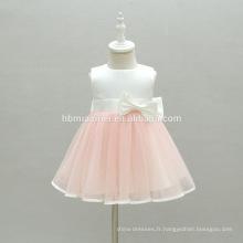 Doublure de coton de haute qualité Infant Tulle Couché Fleur Cap Girl Dress Toddler robe enfants pour le baptême