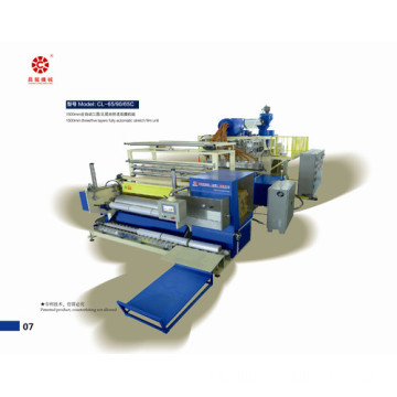 Tiga Mesin Extruders Co-ekstrusi Stretch Film