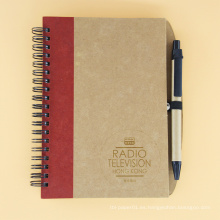 Cuaderno espiral del cuaderno del espacio en blanco del papel de Kraft de la banda elástica