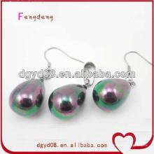 Perla de moda agradable elegante colgante y pendiente de joyería conjunto al por mayor
