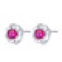 Women′s 925 Sterling Silver Earrings Inlay Synthetic Ruby