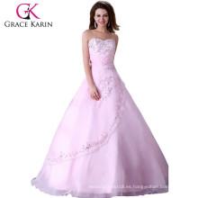 2015 Grace Karin rosa Organza cariño encantador vestido de novia de boda CL4523
