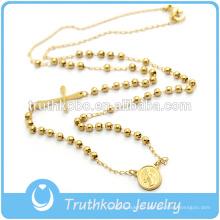 Placage sous vide Collier de chapelet de belles perles Handmake religieux religieux Rose et crucifix