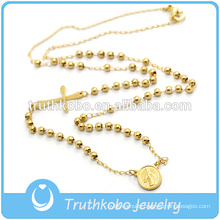 Vacuum Plating Beautiful Religious Beaded Handmake Rosary Necklace Rose Beads And Crucifix
