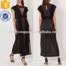 Черный кружевной отделкой платье Миди оптом производство модной женской одежды (TA4050D)