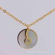 Einfache 316l Edelstahl Gold Musiknote Halskette Anhänger Schmuck