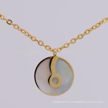 Simples aço inoxidável 316l ouro nota musical colar de pingente de jóias
