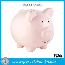 Caja de moneda de cerámica del banco de ahorro de dinero del cerdo rosado precioso