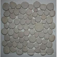 Teja de mosaico de piedra del guijarro de pulido blanco de los 30.5 × los 30.5cm