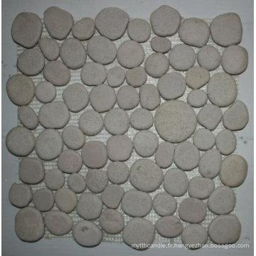 Tuile de mosaïque de pierre de galet de polissage blanche de 30.5 × 30.5cm