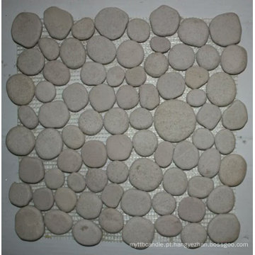 Telha de mosaico de pedra de lustro branca do seixo de 30.5 × 30.5cm