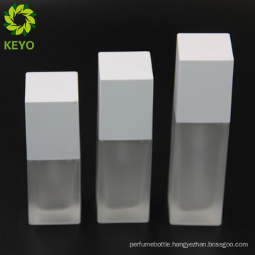 Cosmetic pump bottle 50ml frosted white glass cream bottle glass pump dispenser for foundation