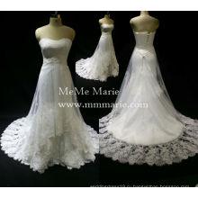 Элегантный без бретелек милая бисером свадебное платье свадебное платье с аппликацией кружева БЫБ-14502