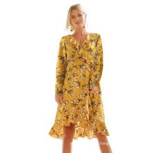 Элегантное повседневное шифоновое платье с длинным рукавом и принтом