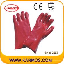 Anti-Aceite de color rojo PVC revestido de seguridad Industrial Guantes de trabajo de mano (51206)