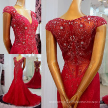 Frete Grátis Charmeiro Sexy Deep V-Neck Red Mermaid Evening Dresses 2016 Full Beaded Sequin Cap Sleeve See Through ML205