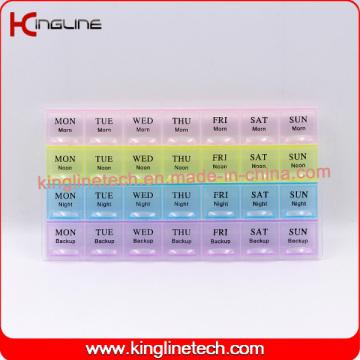 Nouveau design Boîte de médecine de plastique agréable avec 28 cas (KL-92802F)