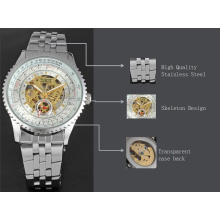 winner skeleton rotating dial watch alloy case with stainless steel band watch