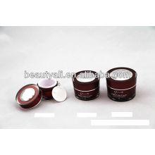 Doble pared de acrílico cosméticos jarra para crema con tapa de diamante